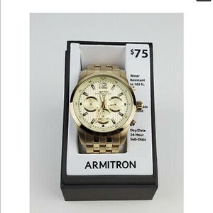 NWT Armitron Men's Gold-Tone Bracelet Watch